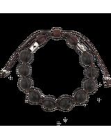Чётки-браслет из лавового камня с крестом [10 зёрен]
