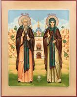 Иона и Васса святые преподобные Псково-Печерские (с видом) [ИКП-2228]