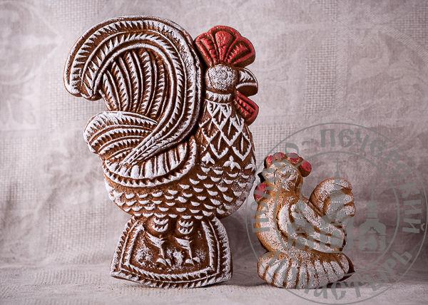 Курочка двухслойный пряник с джемом на меде между слоями. Рельефное изображение животного с обеих сторон, 150г.