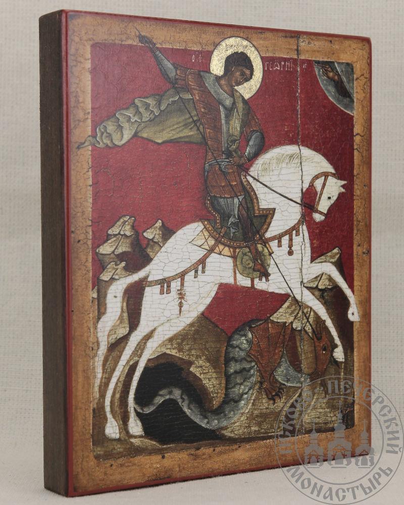 Георгий Победоносец святой великомученик. Чудо о змии (репродукция Новгородской иконы XV века)