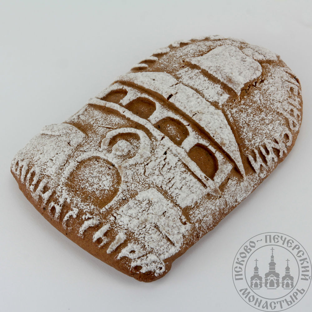 Псково-Печерский монастырь имбирный пряник без начинки. Полуовал, 130г.