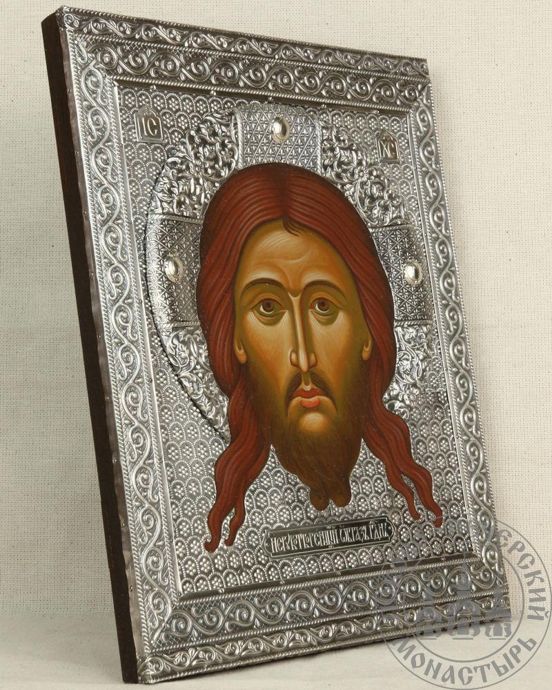 Спас Нерукотворный образ Господа Иисуса Христа [Рукописная в серебряной басме]