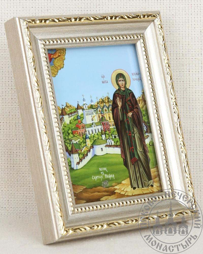 Васса Пск-Печ прп на фоне монастыря СП 6,5х9 рамка пластик с тиснением